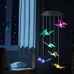 LED Solar Butterfly Wind Chimes Outdoor - TSV Waterproof LED Changing Light Color Wind Chime, Six Butterfly Wind Chimes Light Hanging Lamp for Home, Party, Night Garden Decoration