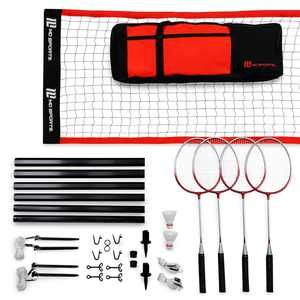 MD Sports Advanced Outdoor Badminton Set, Lawn Game, Red/Black