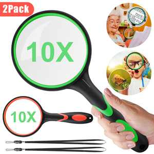2pcs 10X Handheld Reading Magnifier for Seniors & Kids, 75mm Magnifying Glass Lens, Thickened Rubbery Frame, Magnifier Lens Reading Magnifying Glass for Reading, Science,Inspection, Coins, Insects