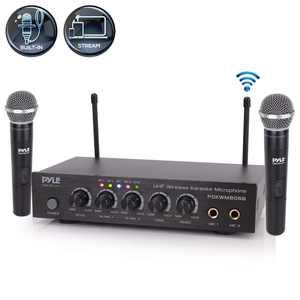 Pyle PDKWM806B Bluetooth UHF Wireless Dual Microphone System w/ 2 Handheld Mics