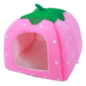 Strawberry Style Pets House Yurt Cute Dog Cat House Multi-purpose Small Pet's Bed Tent Pink