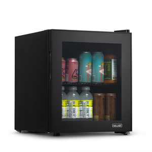 NewAir 1.6 cubic ft. 60-Can Beverage Refrigerator with Glass Door, Small Freestanding Mini Fridge in Black