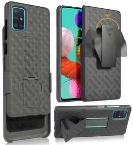 Case with Clip for Galaxy A51, Nakedcellphone [Black Tread] Kickstand Cover with [Rotating/Ratchet] Belt Hip Holster Holder Combo for Samsung Galaxy A51 (2019, SM-A515)
