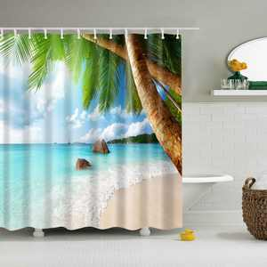 """Nowornever Beach Palm Trees Fabric Shower Curtain With 12 Hooks, 71"""" x 71"""""""