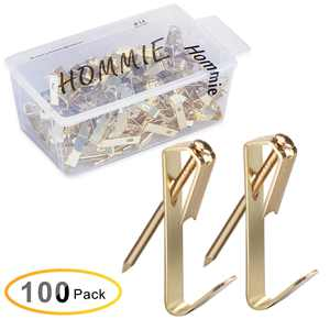 Hommie Picture Hanging Kit,100 Pack Hooks and 120 Pack Nails, 30 lbs, Gold