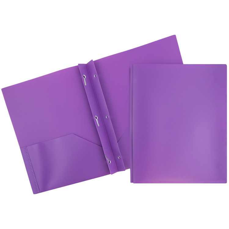 JAM Plastic 2 Pocket School POP Folders with Metal Prongs Fastener Clasps, Purple, Bulk 96/Pack