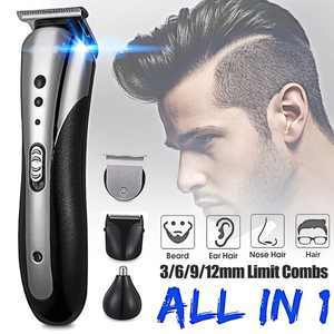 KEMEI 3-IN-1 Men's Grooming Set, Beard Shaver Razor, Hair Clipper, Nose Trimmer, Cordless and Rechargeable