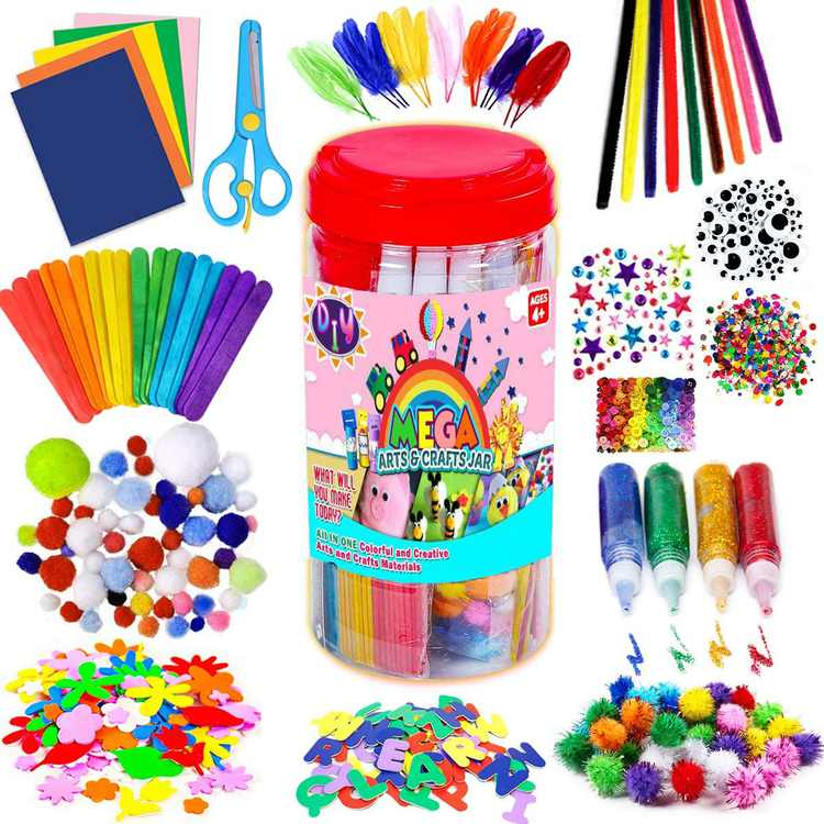 Arts and Crafts Supplies for Kids Boys Girls, Toddler Crafts Sensory Items, Pipe Cleaners, Letter Beads, Pom Poms, Wiggle Googly Eyes, All in One Toddler Crafts Set for School Projects DIY Activities