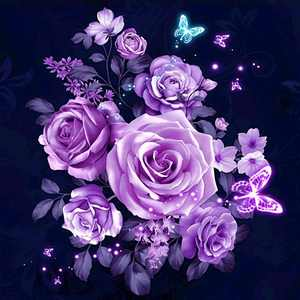 Flowers Pattern Printed 5D Diamond Painting Kits Rhinestone Painting for Bedroom DIY Cross Stitch Picture