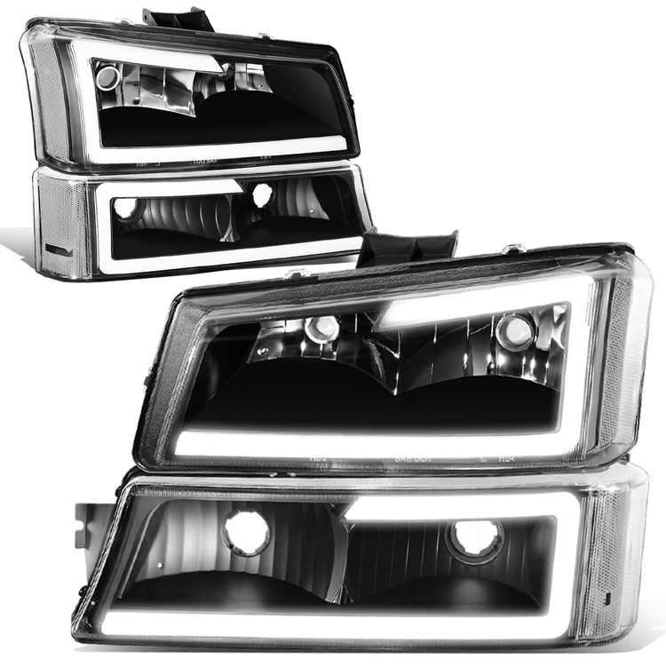 For 2003 to 2007 Chevy Silverado 1500 2500 3500HD Classic Avalanche Pair 3D LED DRL Bar Headlight + Bumper Lamps Black 04 05 06