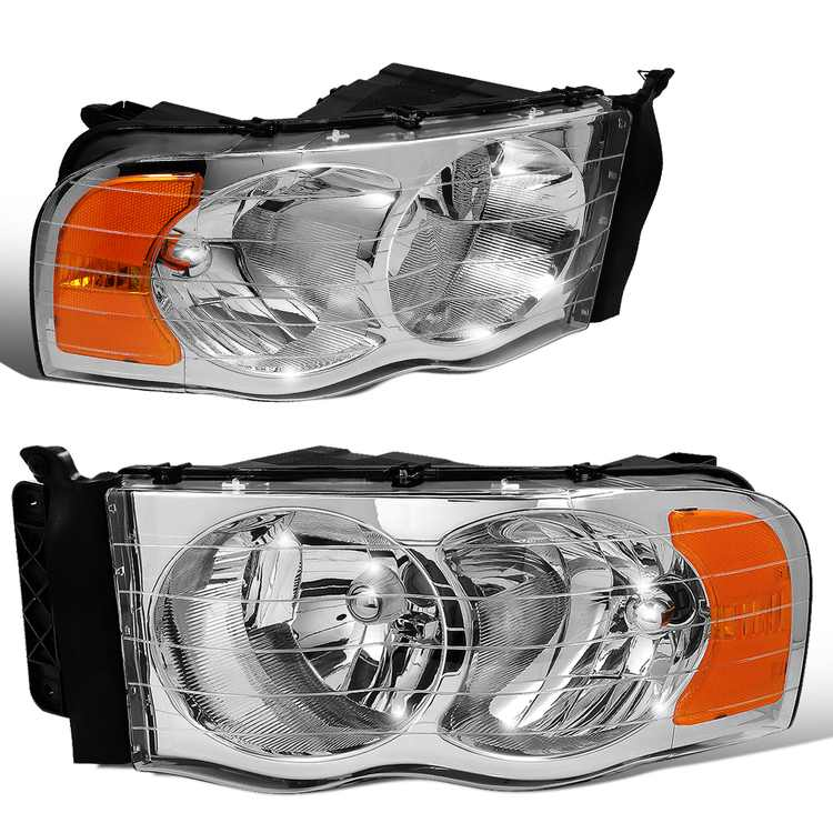 DNA Motoring HL-OH-DR02-CH-AM For 2002 to 2005 Dodge Ram Truck 1500 2500 3500 Chrome Housing Amber Corner Headlight Headlamp 3rd Gen 03 04
