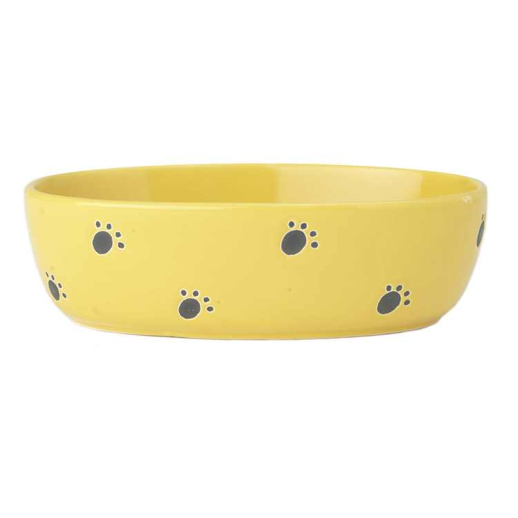 PetRageous Silly Kitty 6.5 Inch Oval 2 Cup Capacity Cat Bowl, Yellow