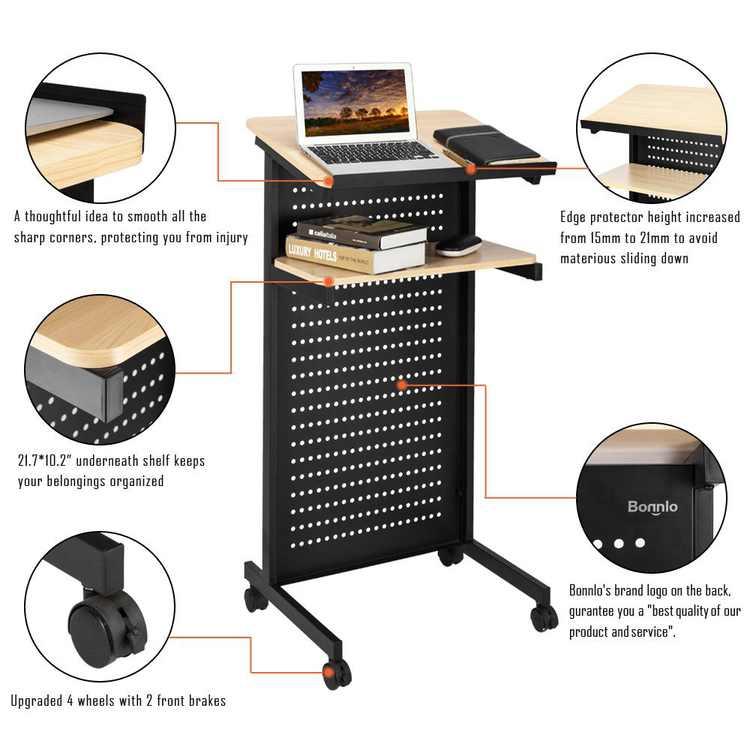 UBesGoo Mobile Lectern Podium with Wheels Heavy Duty Desk Rolling Presentation Lectern, Laptop Stand Up Desk,Black