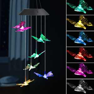 EEEkit LED Solar Butterfly Wind Chimes Outdoor - Waterproof Solar Powered LED Changing Light Color 6 Butterflies Mobile Romantic Wind-bell For Home, Party, Festival Decor, Night Garden Decoration