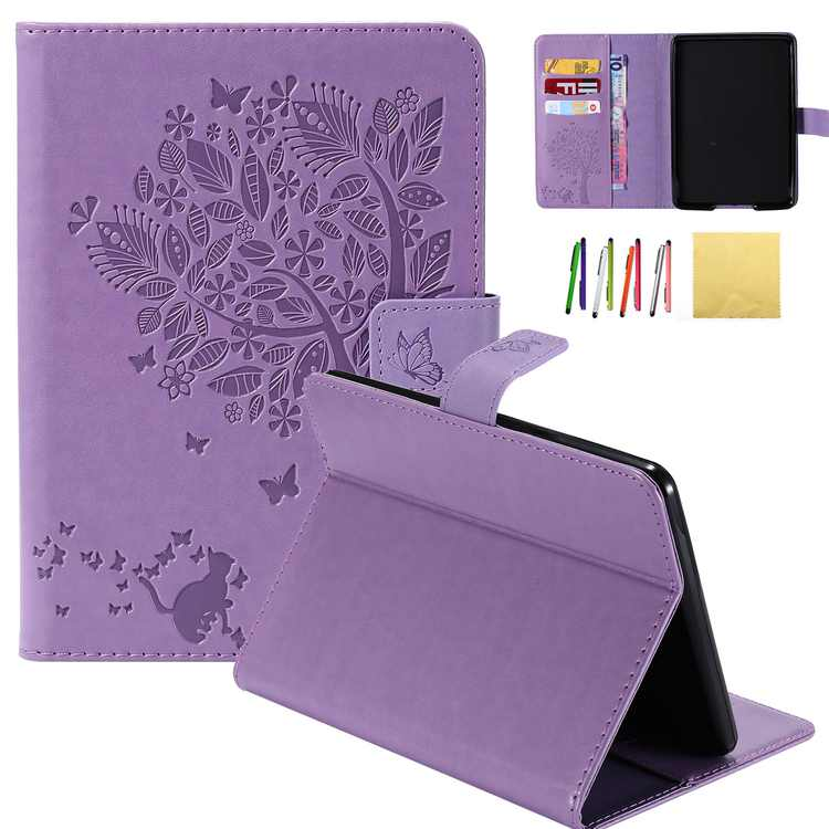 Kindle Paperwhite Case, Allytech Embossed Cat & Tree PU Leather Stand Folio Cover with Credit Card Slots for Amazon Kindle Paperwhite ( Fit All Paperwhite Generations Prior to 2018),, Purple