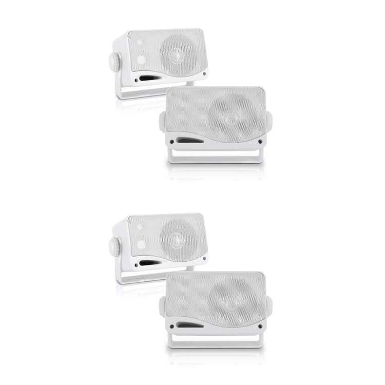 Pyle PLMR24 3.5 Inch 3 Way Marine Audio Speakers Outdoor Weatherproof (2 Pair)