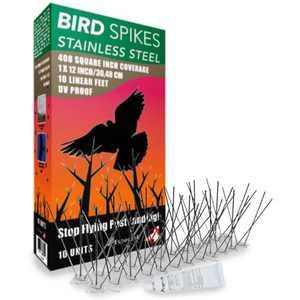 Aspectek Stainless Steel Bird Spikes Kit, Bird Deterrent Kit, Pigeon Repellent,10 Feet with Transparent Silicone Glue Tube