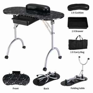 Costway Black Manicure Nail Table Portable Station Desk Spa Beauty Salon Equipment