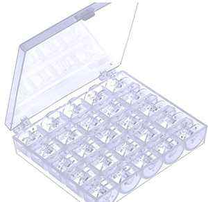 (25 Pack)EEEkit Transparent Plastic Sewing Machine Bobbins Spools with Case for Brother Singer Babylock Janome Kenmore