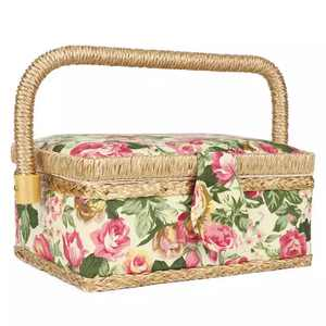 Sewing Basket Wooden Sewing Box with Handle Built-In Pin Cushion Interior Removable Tray Rose Floral Print Pocket Household Storage Organizer with Handle