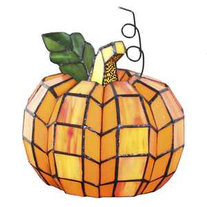 River of Goods Patch the Pumpkin Stained Glass Accent Lamp