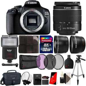 Canon EOS 2000D / Rebel T7 24.1MP Digital SLR Camera + EF-S 18-55mm lens + Original Case + Top Kit