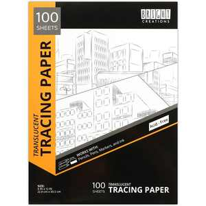 """100 Sheets Translucent Tracing Paper Pad for Drawing & Sewing, Transparent, 9"""" x 12"""""""