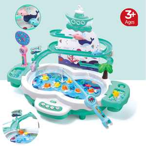 Kids Magnetic Electric Fishing Toys with Slideway, Fishing Game Toy Set with Music,10 Fish,3 Magnetic Dolphins,2 Toy Fishing Poles, Parent-child Educational Toy