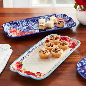The Pioneer Woman Frontier Rose 14.17-Inch Serving Platters, 2-Pack
