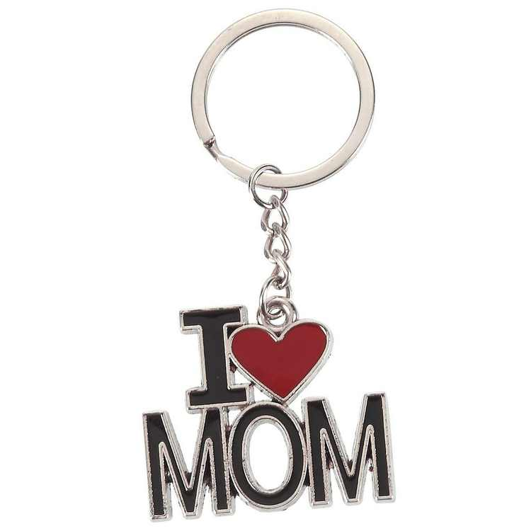 I Love Mom Keychain, Key Chain Ring for Mothers Day Birthday Gift, Silver, Black & Red Alloy