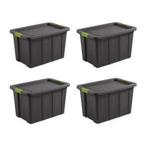 Sterilite 30 Gallon Tuff1 Latching Plastic Storage Tote, Gray, 4 Count