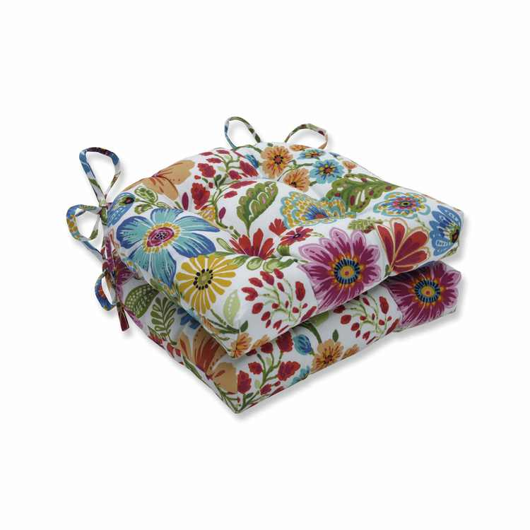 """Set of 2 Vibrantly Colored Floral Pattern Reversible Chair Pads 16"""""""