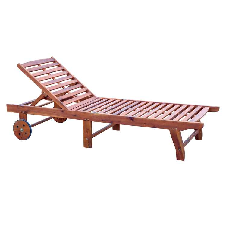 Outsunny Wooden Outdoor Folding Chaise Lounge Chair Recliner with Wheels - Teak