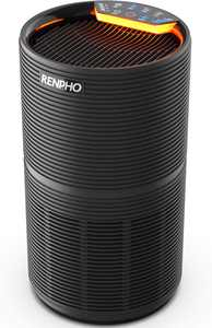 RENPHO Air Purifier for Home Allergies and Pets Hair, Large Room 220 SQ.FT, True HEPA Filter, Quiet Air Cleaner Odor Eliminators in Bedroom for Mold Bacteria, Smoke, Germ, Dust and Pollen, Timer Black
