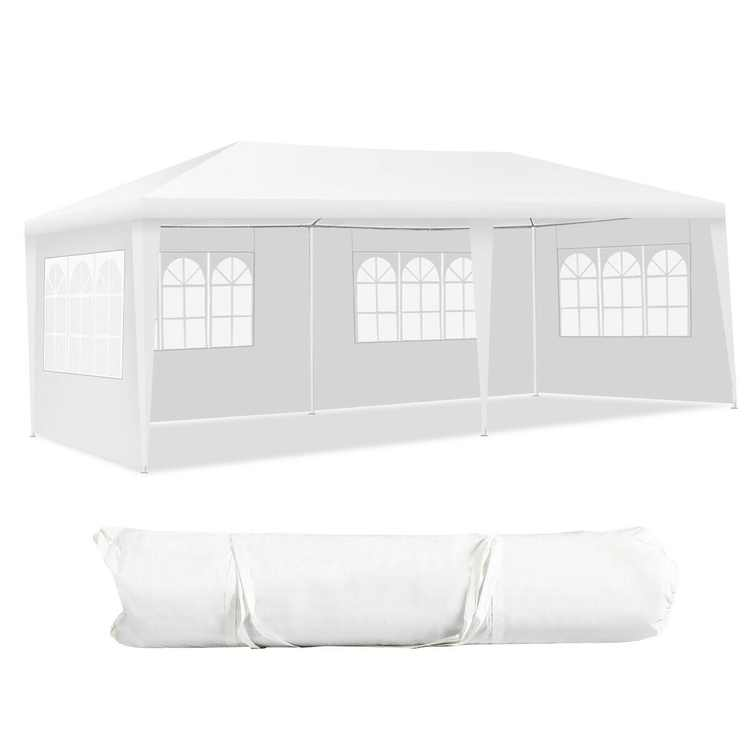 Gymax 10'x20' Outdoor Canopy Weather-resistant Tent Wedding Party Tent 4 Sidewalls W/Carry Bag