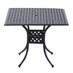 """Outsunny 36"""" x 36"""" Square Metal Outdoor Patio Bistro Table with Center Umbrella Hole & Cast Iron Stylish Design"""