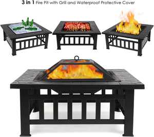 "32"" Outdoor Fire Pit Square Table Metal Firepit Backyard Patio Garden Stove Wood Burning Fireplace With Screen Lid and Poker"