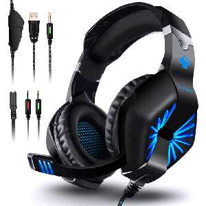 Gaming Headset for PS4 Xbox One Nintendo Switch, Over-Ear Headphones with Noise Cancelling Microphone and Breathable Ear Pads, Bass Surround Sound & Glowing LED Light, Game Headset for Laptop PC