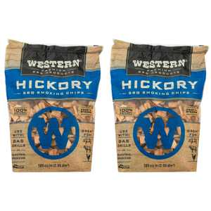 Western Premium BBQ 180 Cu In Hickory BBQ Grilling Smoking Wood Chips (2 Pack)