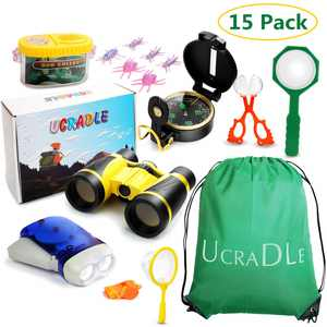 15pcs Outdoor Adventure Kit for Kids, Kids Explorer Catching Set for Kids Children with Compass Binocular Flashlight Whistle Magnifying Glass, Adventure Exploration Gift Fun Toys for Boys and Girls
