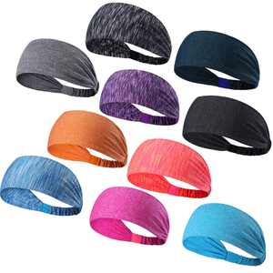 Coolmade Sport Headband for Yoga/Running/Cycling/Exercise Elastic Sweatband Hair Wrap for Men & Women Pack of 10