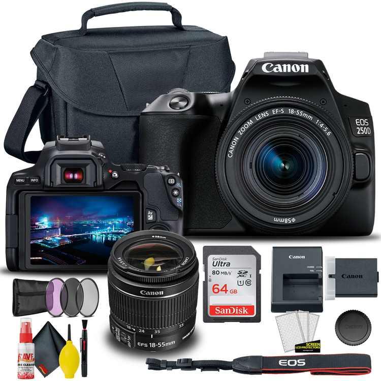 Canon EOS 250D / Rebel SL3 DSLR Camera with 18-55mm Lens (Black) + Creative Filter Set, EOS Camera Bag +  Sandisk Ultra 64GB Card + 6AVE Electronics Cleaning Set, And More (International Model)