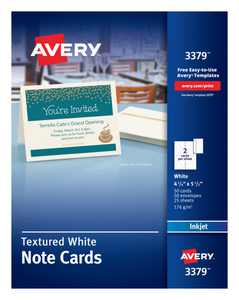 """Avery Note Cards, Uncoated, Matte, Two-Sided Printing, 4-1/4"""" x 5-1/2"""", 50 Cards (3379)"""