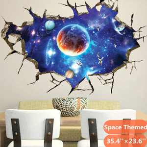 Outer Space Themed 3D Wall Stickers, Murals Art Decals Decorator, Kids Bedroom Ceiling Living Room Nursery Sticker Decor
