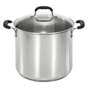 T-Fal Specialty Stainless Steel 12-Quart Stock Pot with Glass Lid, Silver