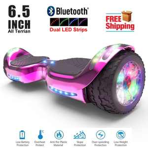 Hoverboard All-Terrain LED Flash Wide All Terrian Wheel with Bluetooth Speaker Dual LED Light Self Balancing Wheel Electric Scooter Chrome Pink