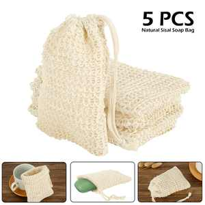5Pcs Sisal Soap Bag Ideal for Scraps & Save Soaps, Natural Fiber Soap Bags for Foaming and Drying The Soap