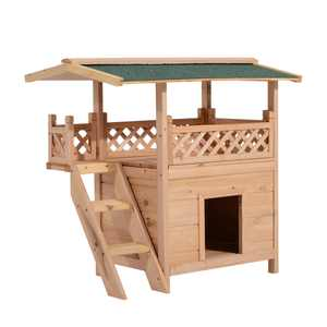 PawHut 2-Story Indoor / Outdoor Elevated Wooden Cat House Shelter With Balcony Roof