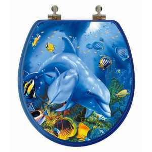 Topseat 3DCPDPH Dolphin Family Round 3D Toilet Seat
