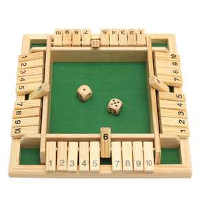 10 Numbers Traditional Wooden Board Game Set Pub Bar Game Family Dice Game Kids and Adults For Shut The Box 8.66 x 8.66 x 1.30 Inch